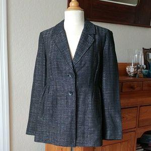 J Jill Princess Seam Black & Silver Tweed  Blazer